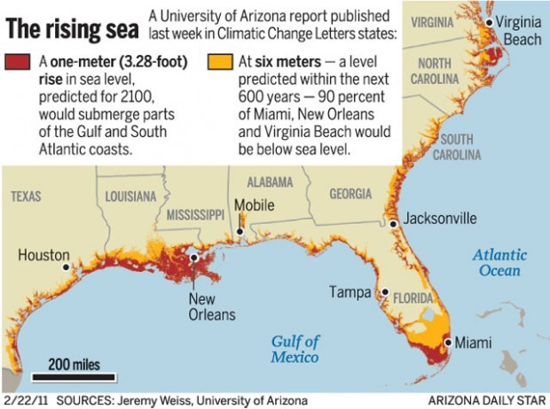 UA Climate Research Big Stretch Of US Coast At Risk Of Rising - Us sea level rise map