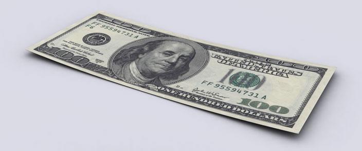 sto dolarów - wizualizacja długu publicznego Stanów Zjednoczonych